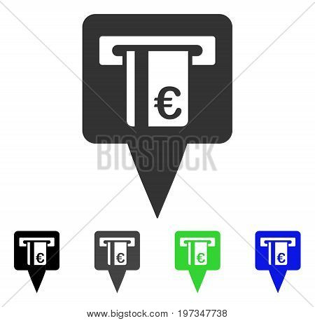 Euro ATM Pointer flat vector icon. Colored euro ATM pointer gray, black, blue, green pictogram versions. Flat icon style for web design.