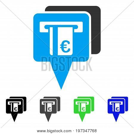 Euro ATM Pointers flat vector icon. Colored euro ATM pointers gray, black, blue, green pictogram versions. Flat icon style for application design.