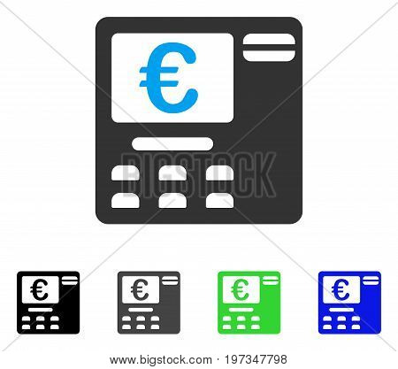 Euro ATM flat vector illustration. Colored euro ATM gray, black, blue, green icon versions. Flat icon style for application design.
