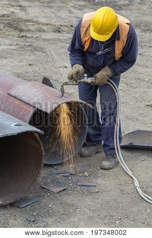 Welder Worker With Cutting Torch