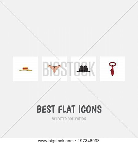 Flat Icon Clothes Set Of Elegant Headgear, Lingerie, Cravat And Other Vector Objects