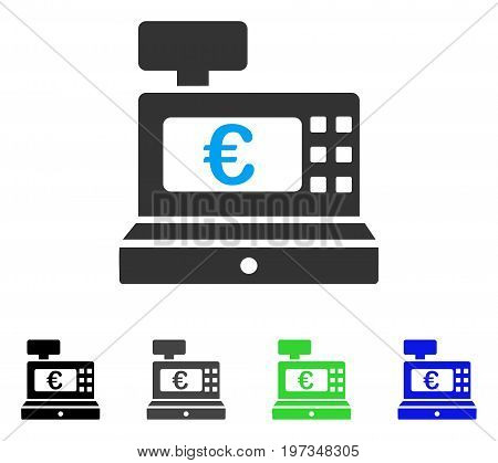 Euro Cashbox flat vector pictograph. Colored euro cashbox gray, black, blue, green pictogram versions. Flat icon style for application design.