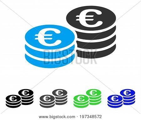 Euro Coin Stacks flat vector pictograph. Colored euro coin stacks gray, black, blue, green pictogram versions. Flat icon style for application design.