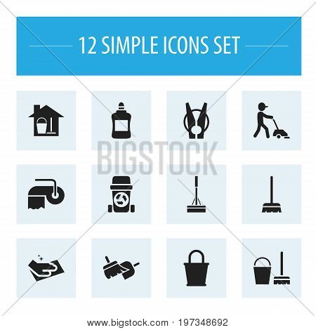 Set Of 12 Editable Hygiene Icons. Includes Symbols Such As Towel, Cleaner, Rubbish Container And More
