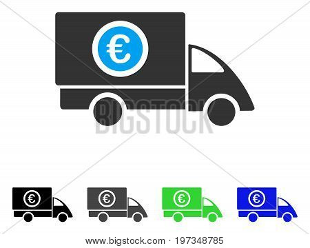 Euro Delivery flat vector pictogram. Colored euro delivery gray, black, blue, green icon variants. Flat icon style for graphic design.