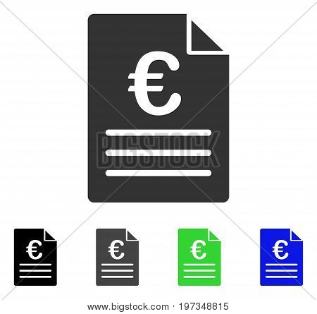 Euro Document flat vector illustration. Colored euro document gray, black, blue, green pictogram versions. Flat icon style for web design.