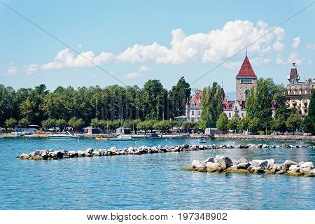 Lausanne Switzerland - August 26 2016: Lake Geneva embankment at Chateau Ouchy in Lausanne Switzerland.