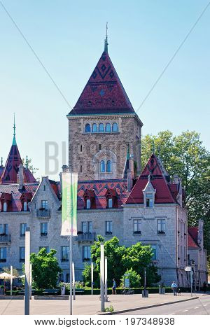 Lausanne Switzerland - August 26 2016: Chateau Ouchy in Lausanne Switzerland.