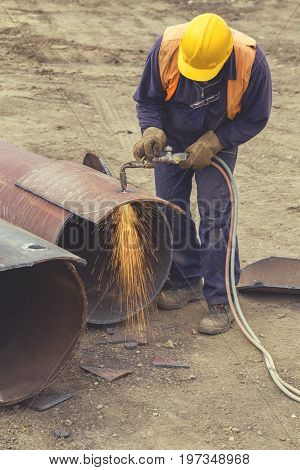 Welder Worker With Cutting Torch 5