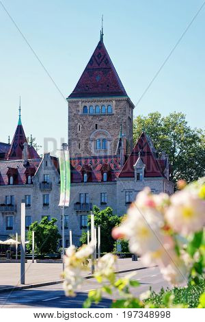 Lausanne Switzerland - August 26 2016: Chateau Ouchy Lausanne Switzerland.