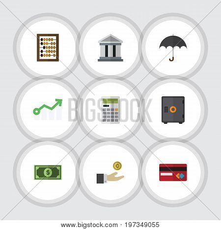 Flat Icon Gain Set Of Strongbox, Greenback, Payment And Other Vector Objects