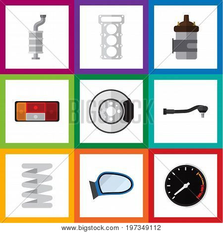 Flat Icon Auto Set Of Input Technology, Metal, Auto Component And Other Vector Objects