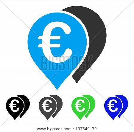 Euro Map Markers flat vector pictograph. Colored euro map markers gray, black, blue, green icon variants. Flat icon style for application design.