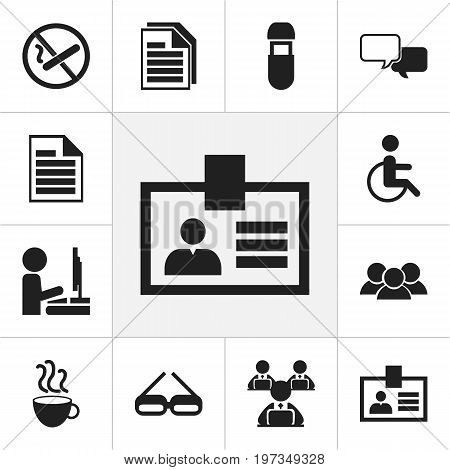 Set Of 12 Editable Bureau Icons. Includes Symbols Such As Handicapped, Smoking Forbidden, Blank
