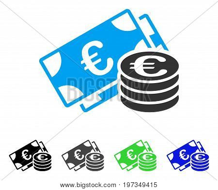 Euro Money flat vector pictograph. Colored euro money gray, black, blue, green pictogram variants. Flat icon style for graphic design.