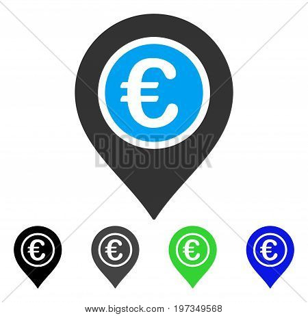 Euro Pointer flat vector pictograph. Colored euro pointer gray, black, blue, green pictogram versions. Flat icon style for application design.