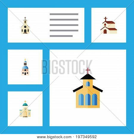 Flat Icon Christian Set Of Religion, Catholic, Church And Other Vector Objects