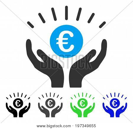 Euro Prosperity flat vector icon. Colored euro prosperity gray, black, blue, green icon variants. Flat icon style for graphic design.
