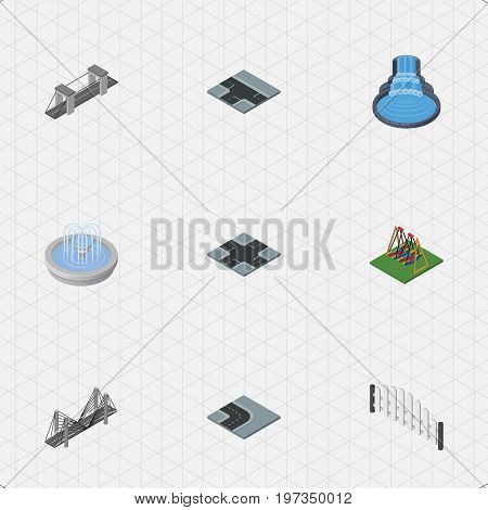 Isometric Architecture Set Of Seesaw, Intersection, Bridge And Other Vector Objects