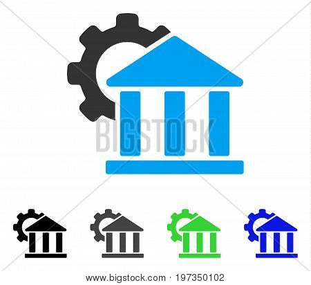 Bank Settings flat vector pictograph. Colored bank settings gray, black, blue, green pictogram versions. Flat icon style for web design.