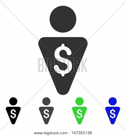 Banker flat vector pictograph. Colored banker gray, black, blue, green pictogram versions. Flat icon style for graphic design. poster