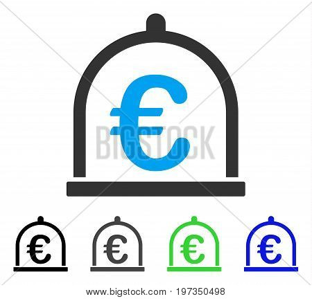 Euro Storage flat vector pictograph. Colored euro storage gray, black, blue, green pictogram versions. Flat icon style for web design.