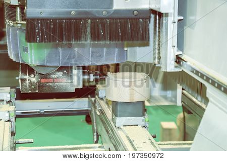 Woodworking Machine With Drill During Processing 4