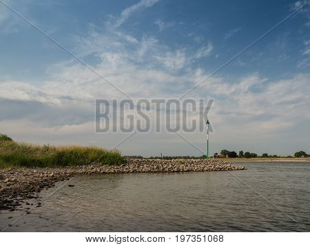 groyne at the rhine Kalkar Germany on a sunny day