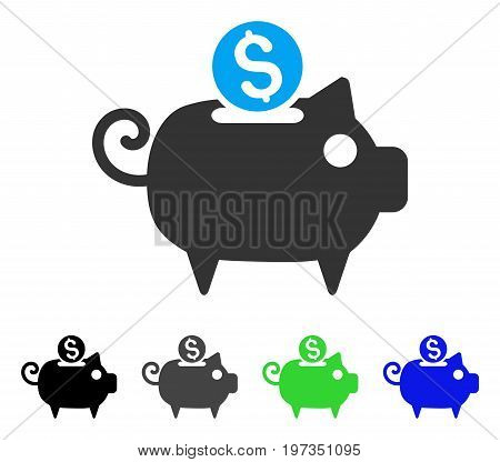 Piggy Bank flat vector illustration. Colored piggy bank gray, black, blue, green pictogram versions. Flat icon style for web design.