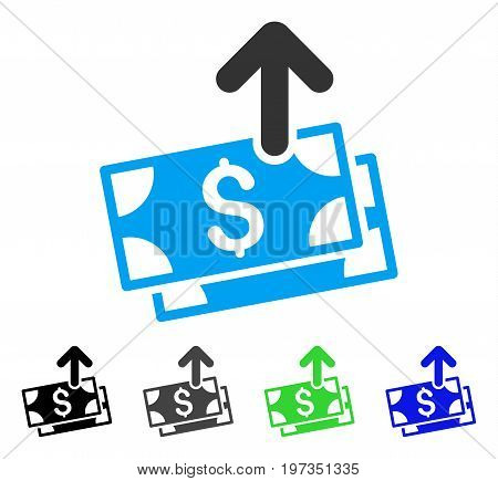 Send Banknotes flat vector pictograph. Colored send banknotes gray, black, blue, green icon versions. Flat icon style for graphic design.