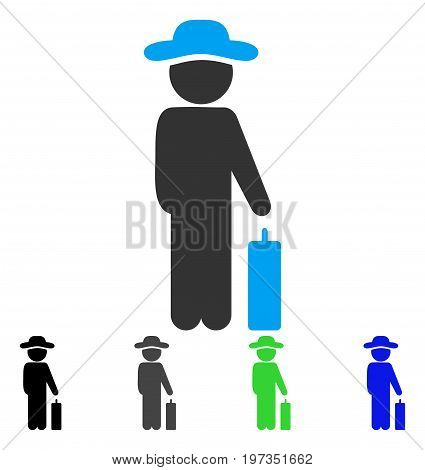 Gentleman Baggage flat vector illustration. Colored gentleman baggage gray, black, blue, green pictogram versions. Flat icon style for web design.