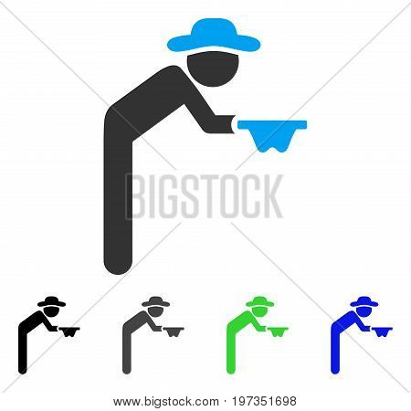 Gentleman Beggar flat vector icon. Colored gentleman beggar gray, black, blue, green pictogram versions. Flat icon style for web design.