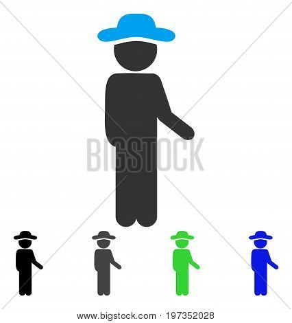 Gentleman Idler flat vector pictograph. Colored gentleman idler gray, black, blue, green pictogram variants. Flat icon style for application design.