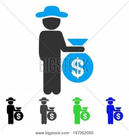 Gentleman Investor flat vector pictograph. Colored gentleman investor gray, black, blue, green pictogram variants. Flat icon style for application design.