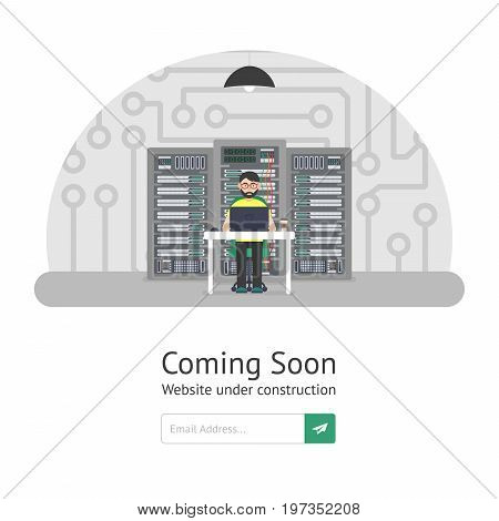 Website Template. Coming Soon. Website is under reconstruction. Vector illustration in modern flat style.