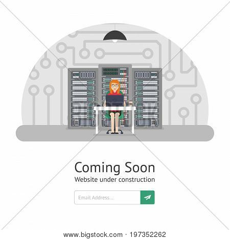 Girl system administrator.Website is under reconstruction. Website Template. Coming Soon. Vector illustration in mod ern flat style.