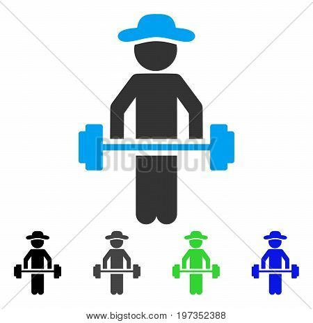 Gentleman Power Lifting flat vector pictograph. Colored gentleman power lifting gray, black, blue, green icon versions. Flat icon style for web design.