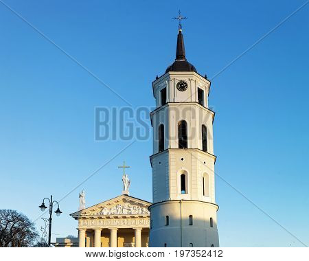 Cathedral Square With Belfry And Museum In Old Town Vilnius