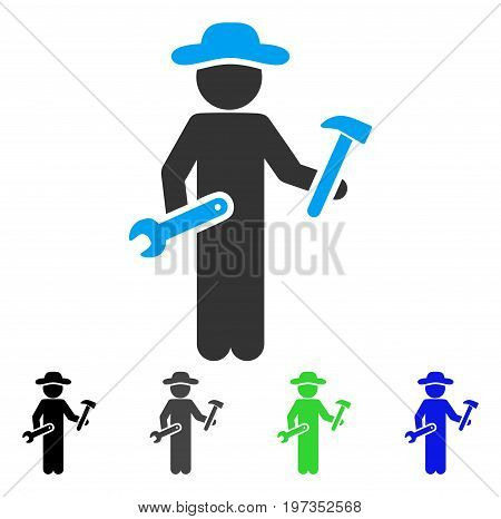 Gentleman Serviceman flat vector pictogram. Colored gentleman serviceman gray, black, blue, green icon versions. Flat icon style for web design.