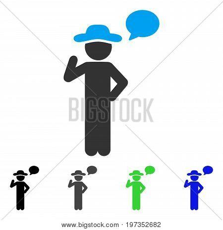 Gentleman Speech flat vector pictogram. Colored gentleman speech gray, black, blue, green icon versions. Flat icon style for web design.
