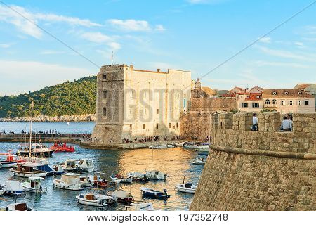 Saint John Fortress And Ships In Old Port In Dubrovnik