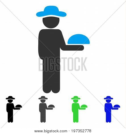 Gentleman Waiter flat vector icon. Colored gentleman waiter gray, black, blue, green pictogram versions. Flat icon style for application design.