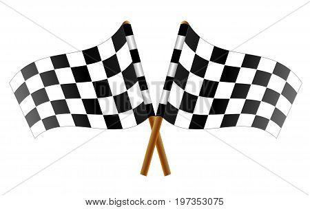 Two crossed checkered flags, vector art illustration flags for car racing.