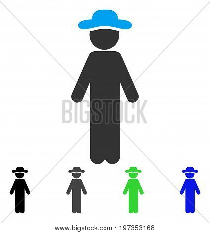 Standing Gentleman flat vector pictograph. Colored standing gentleman gray, black, blue, green pictogram versions. Flat icon style for application design.