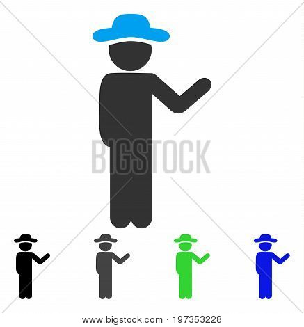 Talking Gentleman flat vector pictograph. Colored talking gentleman gray, black, blue, green icon variants. Flat icon style for application design.