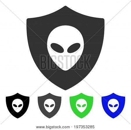 Alien Protection flat vector pictograph. Colored alien protection gray, black, blue, green pictogram variants. Flat icon style for web design.