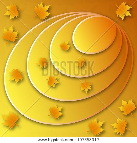 Label with yellow autumn leaves and circles, vector art illustration.