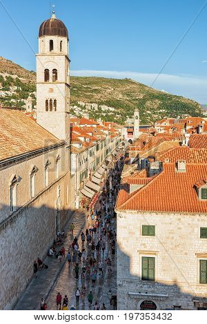 People At Franciscan Monastery On Stradun Street In Dubrovnik