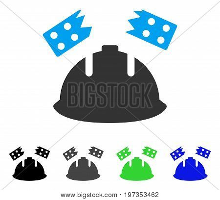 Brick Helmet Accident flat vector icon. Colored brick helmet accident gray, black, blue, green pictogram variants. Flat icon style for web design.