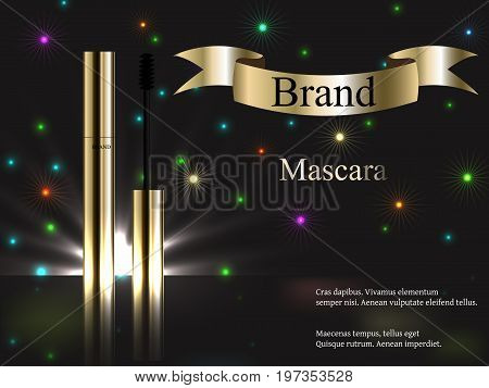 cosmetics, mascara gold on dark background with fireworks and bright spots, bright, brightly, celebration. Vector realistic 3D, advertising, banner, poster